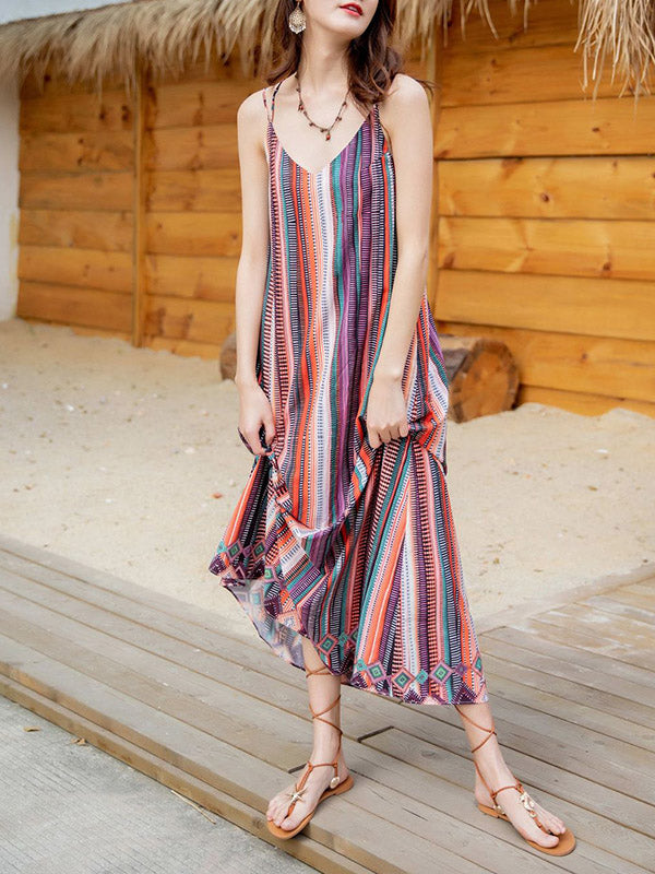 Chic Loose Striped Maxi Dress