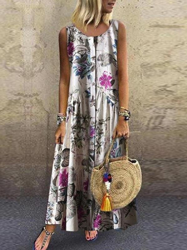 Fashion Floral Printed Sleeveless Maxi Dress