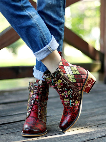 Bohemia Knitting Leather Booties