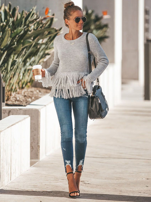 Round-neck Long Sleeves Solid Color Tasseles Sweater Tops