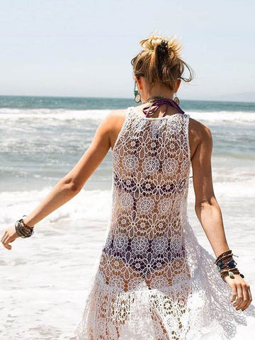 Lacy Split-joint Beach Maxi Cover-up Dress