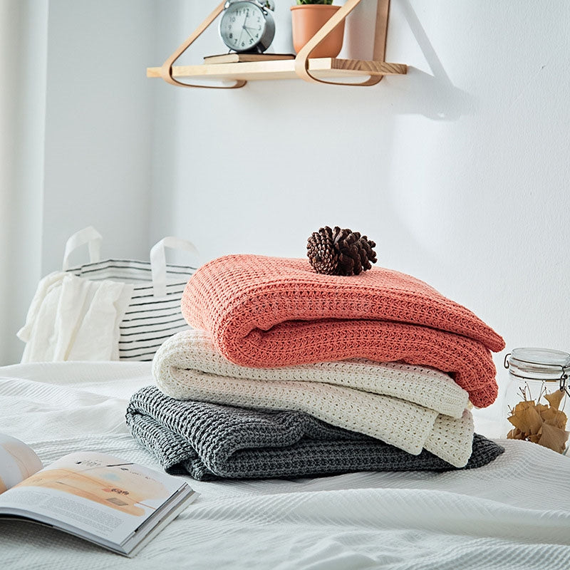 Solid Wool Knit Blankets