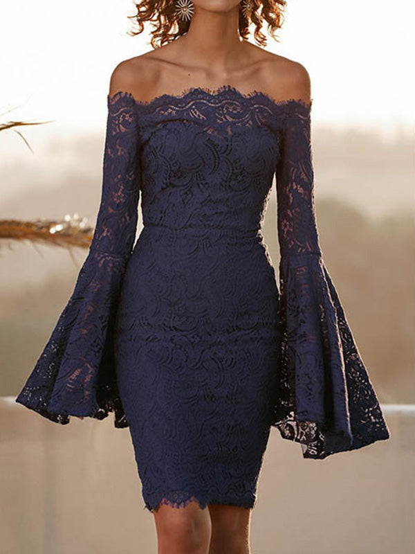 Sexy Lace Flared Sleeves Bodycon Off-the-shoulder Midi Dress