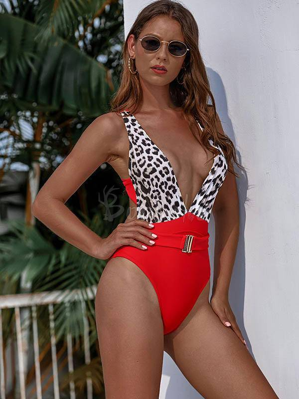 Split-Joint Belted One-Piece Swimwear