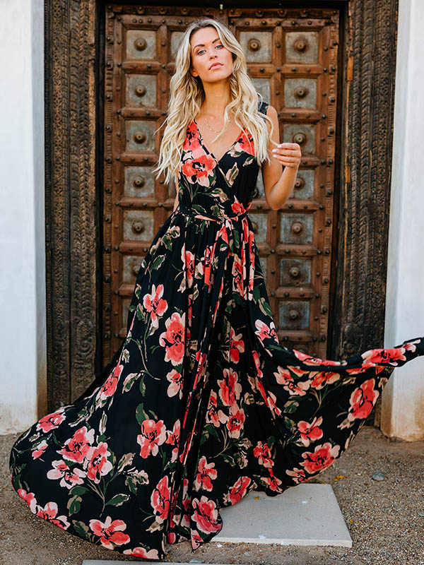 Sleeveless Printed Split-side Maxi Dress