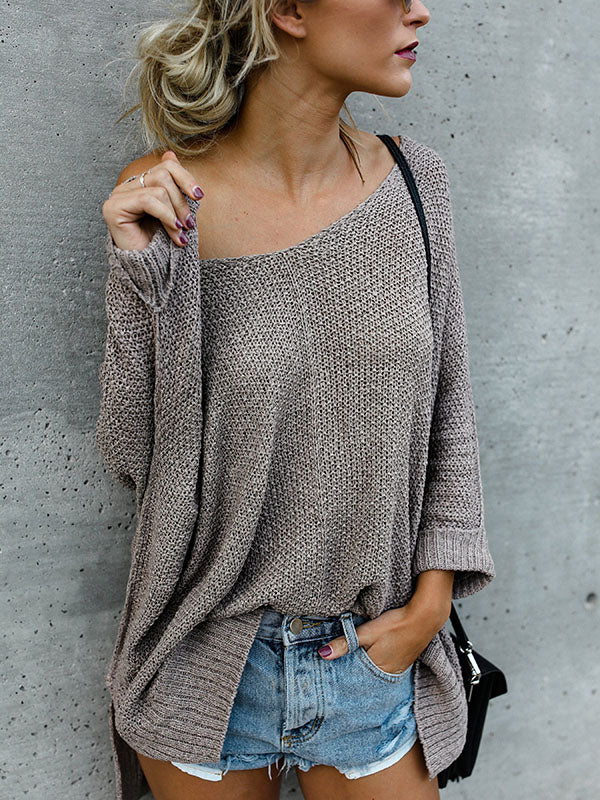 Loose 2 Colors Long Sleeves Sweater Tops