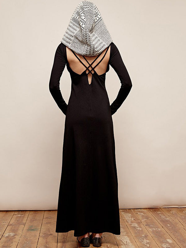Presale Hooded Backless Long Sleeves Maxi Dress