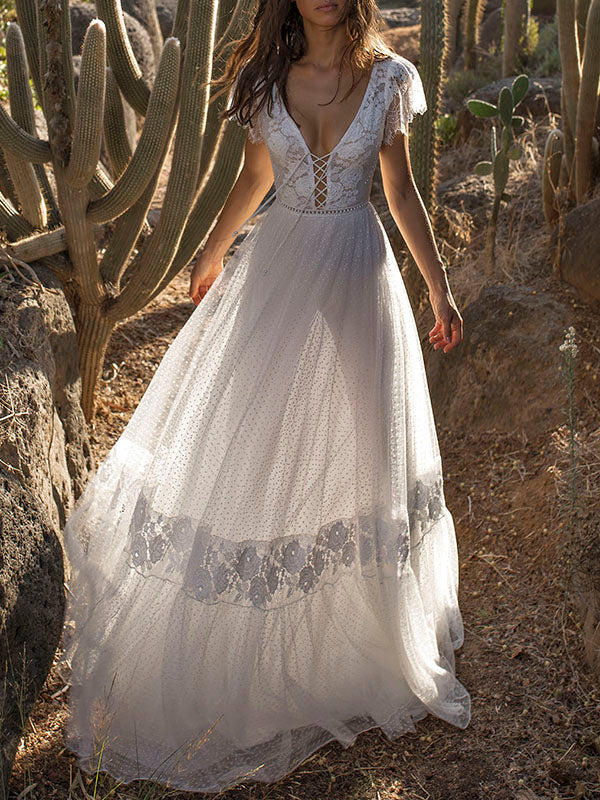 017ea409c2c4 V-neck Backless Maxi Wedding Dress – bonboho