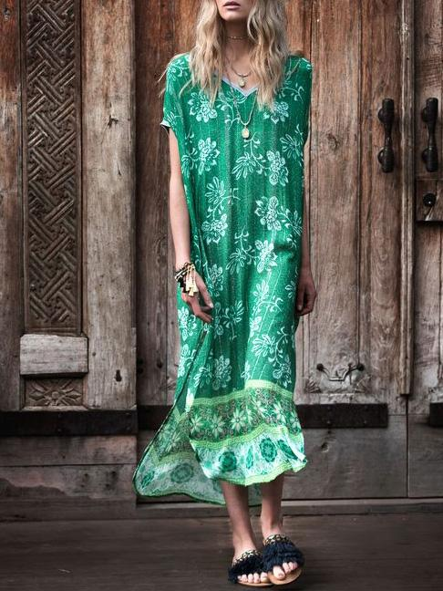 Green Printed V-neck Cover-up Swimwear
