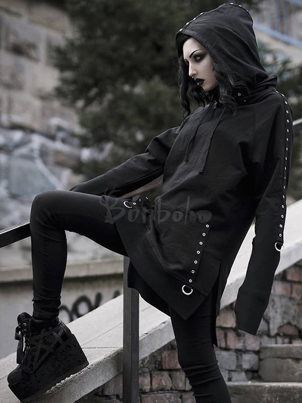 Gothic Split-side Iron Ring Long Hoodie