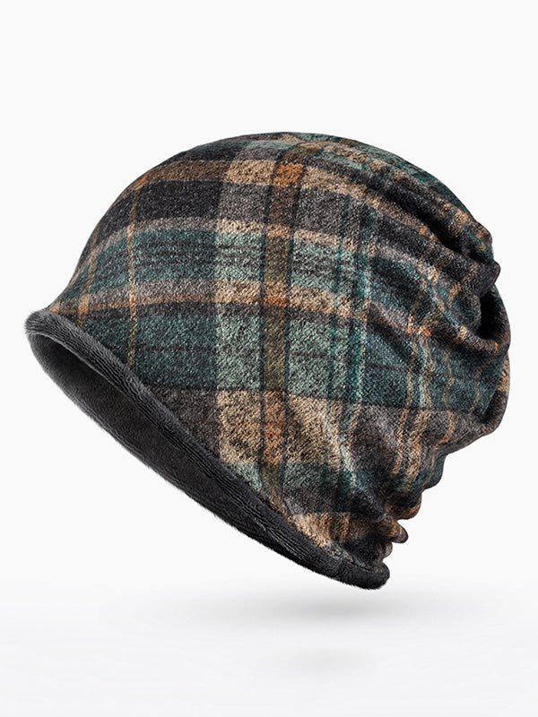 Plaid Man Plush Winter Hood