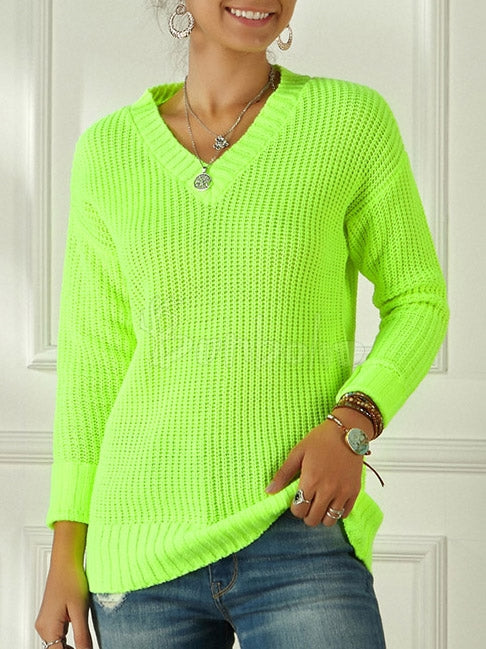 Fluorescent Color V-Neck Sweater