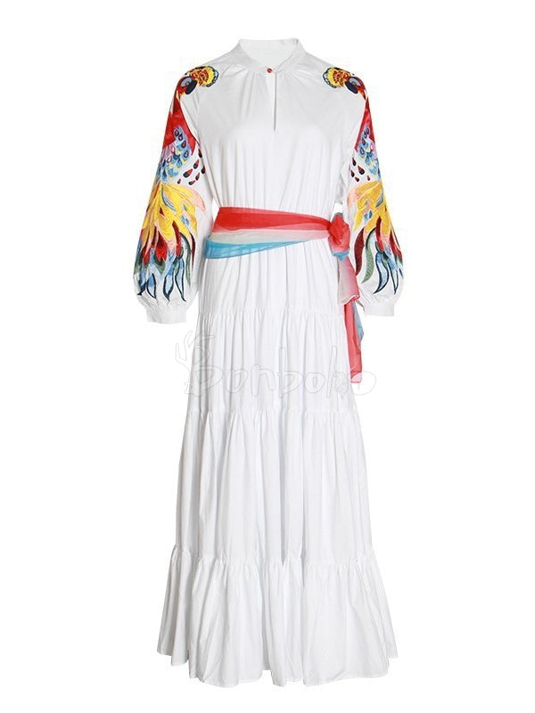 Colorful Embroidered Bandage Lantern Sleeves Maxi Dress