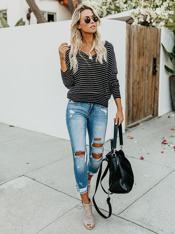 Stripes Loose Blouses&Shirts Top