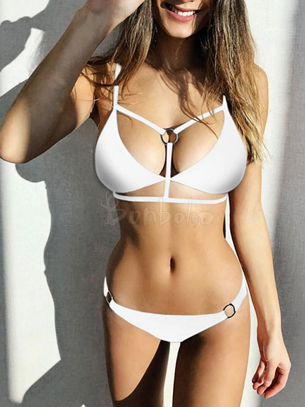 Solid Color Ring Braided Bikini Swimwear