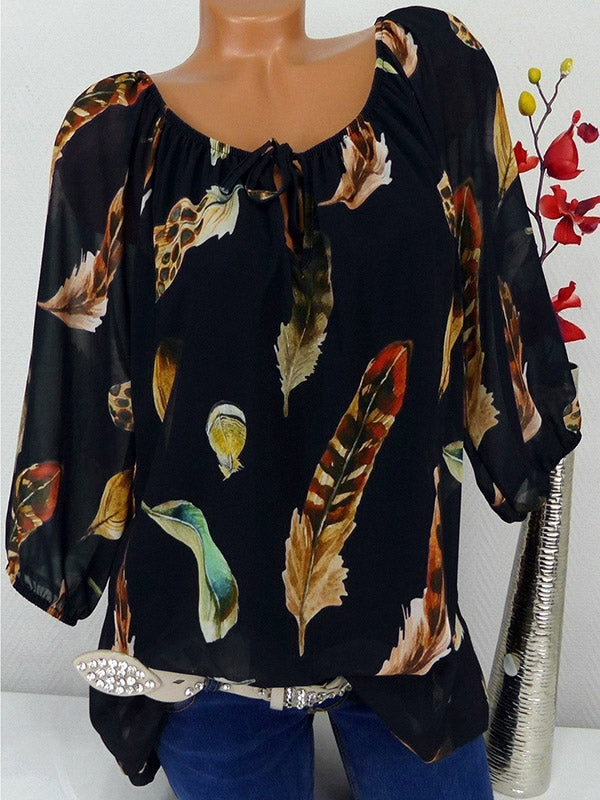 Large Feather Print T-shirt Off the Shoulder