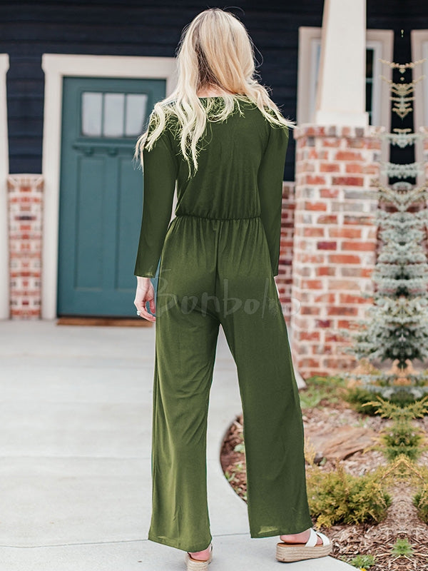 Solid Empire Buttons Jumpsuits