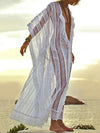 Striped Hollow V-neck Cover-up Swimwear