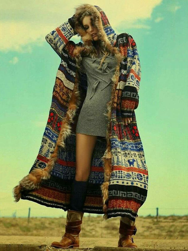 Printed Artificial Fur Hooded Outwears