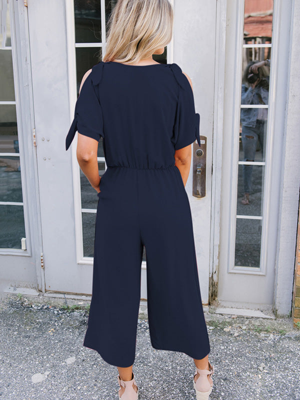 Bow-embellished V-neck Cold-shoulder Jumpsuits
