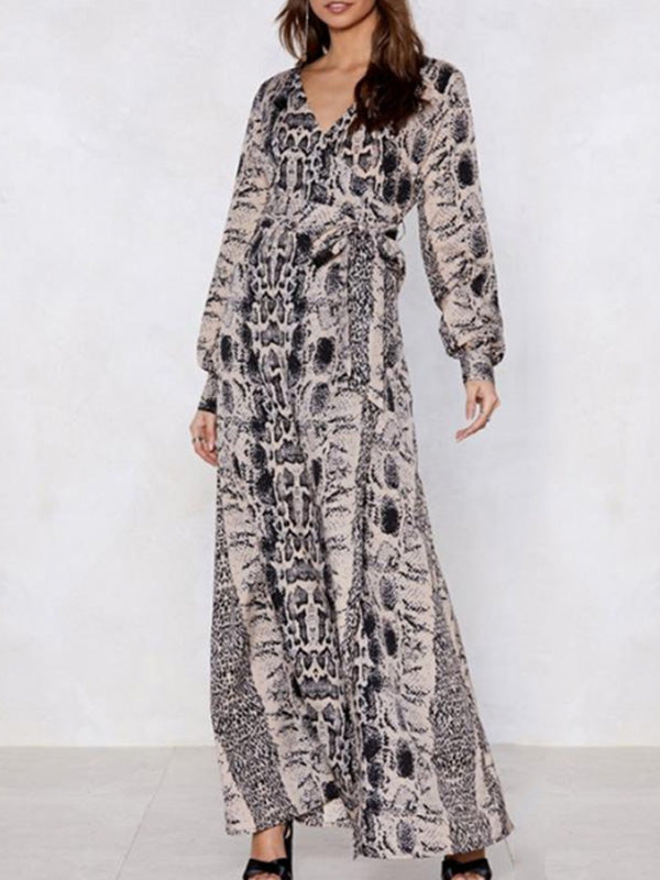2a6b628a55 Fashion V-neck Leopard Print Long Sleeves Maxi Dress – bonboho