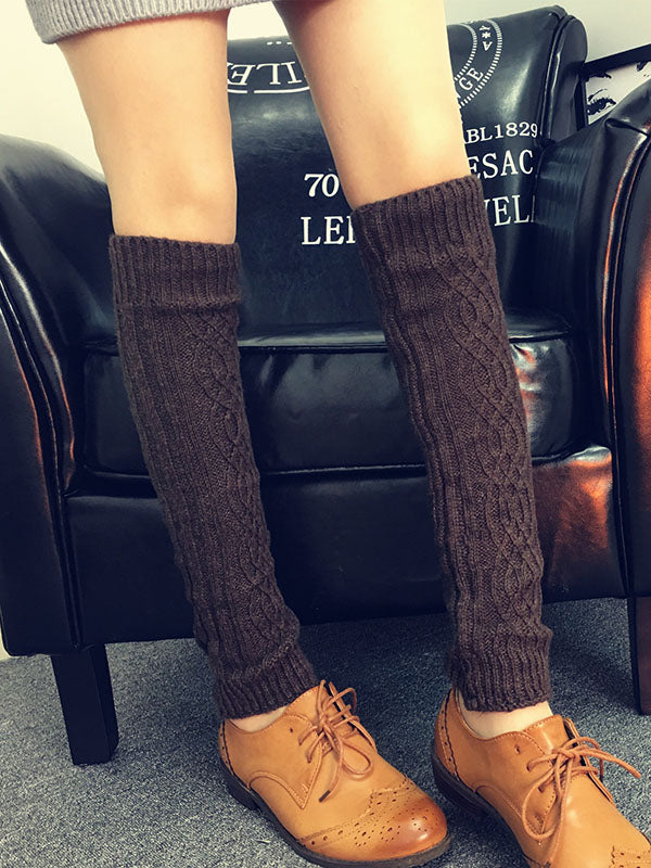 Leg Warmer Knitting Solid Stocking