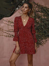Dot V-Neck Long Sleeves Mini Dress