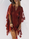 Pompoms Backless Long Sleeves Cover-up Mini Dresses