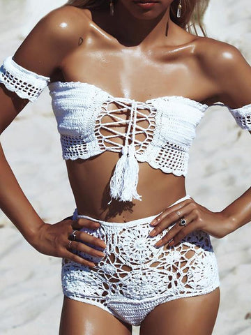 Sexy Halterneck Knitting Shells Decorated Two-Pieces Bikini Swimwear