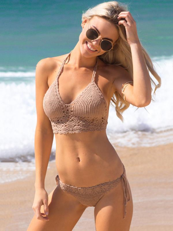 Solid Color Crocheto Two-pieces Bkini Swimwear
