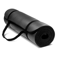 Black Exercise Mat with Carry Strap – 72 x 24 Inches (10mm) NBR Padded Foam Mat for Yoga, Pilates and Fitness