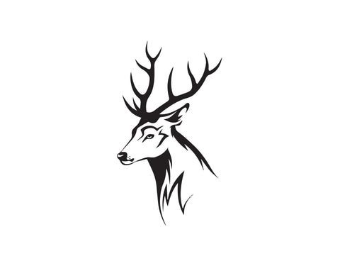 DEER HEAD WITH ANTLERS SILHOUETTE DECAL - cartattz1.myshopify.com