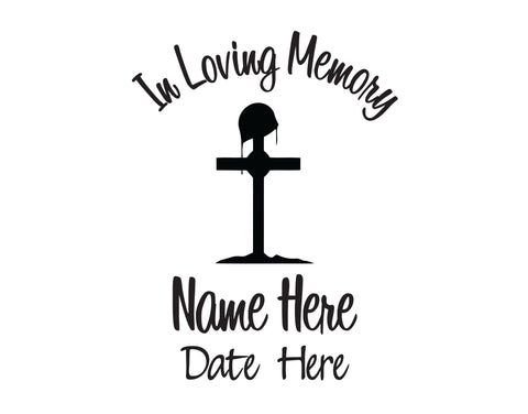 In Loving Memory Decal with Military Cross - cartattz1.myshopify.com