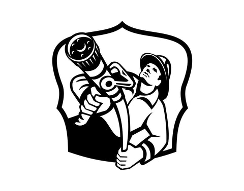 Firefighter Decal With Hose 3