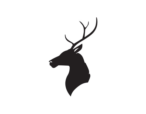 DEER HEAD WITH ANTLERS BUST SILHOUETTE DECAL - cartattz1.myshopify.com