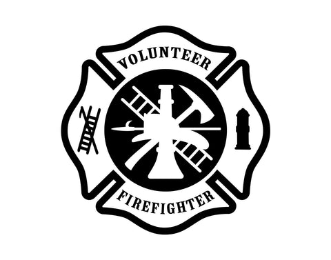 Volunteer Fire Fighter  Maltese Cross Decal - cartattz1.myshopify.com