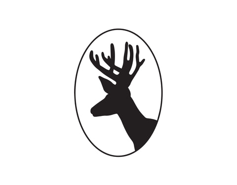 DEER HEAD WITH ANTLERS SIDE VIEW SILHOUETTE DECAL - cartattz1.myshopify.com