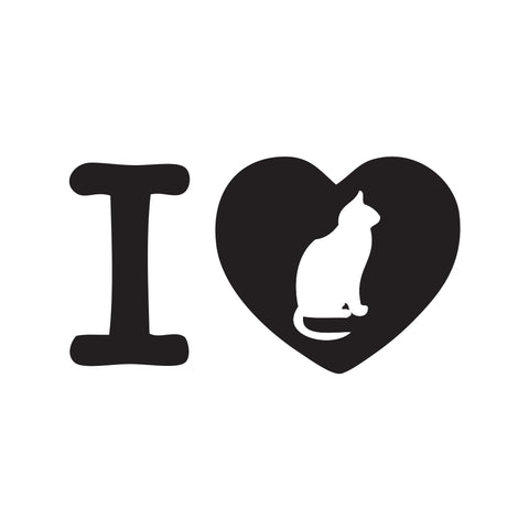 I Heart Cat Sticker - cartattz1.myshopify.com