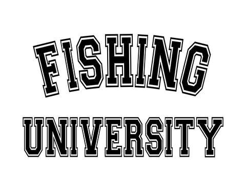 Fishing University Sticker - cartattz1.myshopify.com