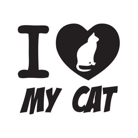 I Heart My Cat Sticker - cartattz1.myshopify.com