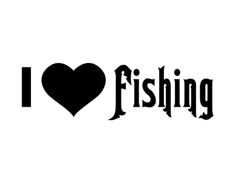 I Heart Fishing Sticker - cartattz1.myshopify.com