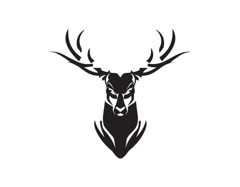 ANGRY DEER HEAD WITH ANTLERS DECAL - cartattz1.myshopify.com