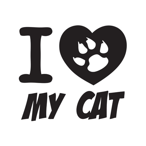 I Heart My Cat Paw Sticker - cartattz1.myshopify.com