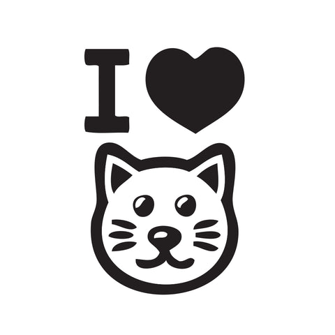 I Heart My Cat face Sticker - cartattz1.myshopify.com