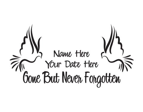 In Memory of Doves Decal Gone But Never Forgotten - cartattz1.myshopify.com