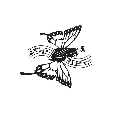 Butterfly Piano Music Sticker 1 - cartattz1.myshopify.com