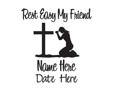 Rest Easy My Friend Girl In Memory of Decal - cartattz1.myshopify.com