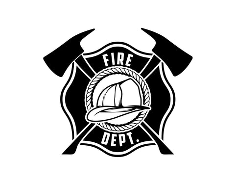 Fire Department Maltese Cross Firefighter Decal With Helmet - cartattz1.myshopify.com