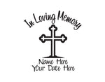 In Loving Memory Decal with Cross - cartattz1.myshopify.com