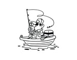 Fisherman and Boat Sticker - cartattz1.myshopify.com